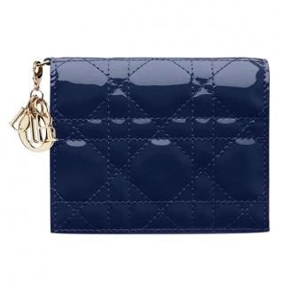 Dior Vintage Midnight Blue Patent Lady Dior Wallet