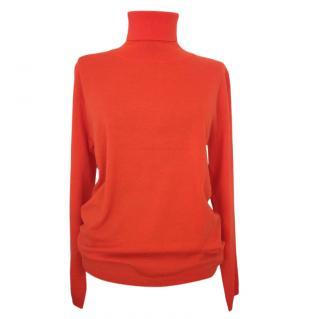 Max Mara Orange Virgin Wool Kint Roll Neck Jumper
