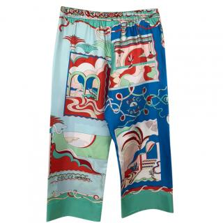 Emilio Pucci Silk Printed Cropped Pants