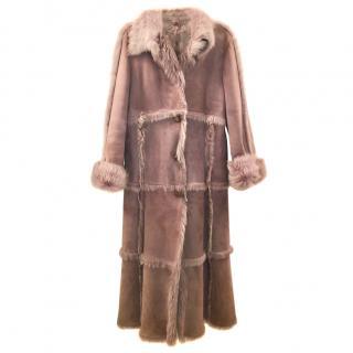 Joseph Lilac Fur & Suede Patchwork Coat