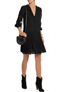 Isabel Marant Black Scalloped Trim Crepe Dress