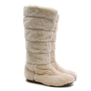 Jimmy Choo White Rabbit Fur Snow Boots