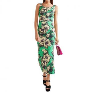 Miu Miu Ruched floral-print silk-blend cloqu� midi dress