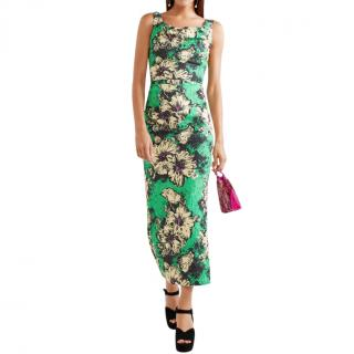 Miu Miu Ruched floral-print silk-blend cloqu� midi dress
