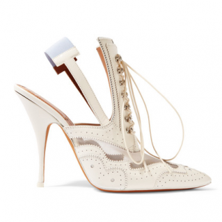 Givenchy Slingback mules in mesh-paneled white leather