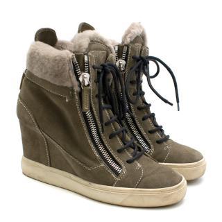 Giuseppe Zanotti Green Suede Wedge Sneakers