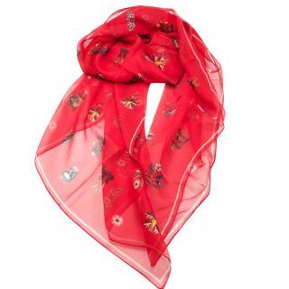 Alexander McQueen Red Medieval Floral Silk Scarf