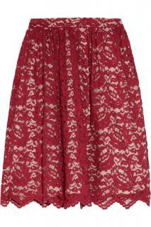 Erdem Red Lace Scalloped Skirt