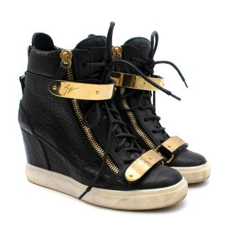 Giuseppe Zanotti Black Croc-Embossed Leather Sneakers