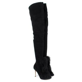 Gianvito Rossi Black Suede Over-the-knee Fur Vamp Boots