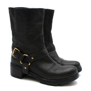 Prada Black Leather Harness Biker Boots