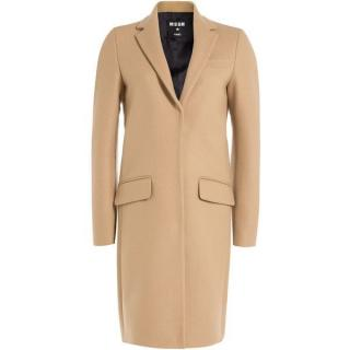 MSGM Camel Tailored Wool Coat