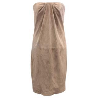 Ralph Lauren Taupe Suede Strapless Dress