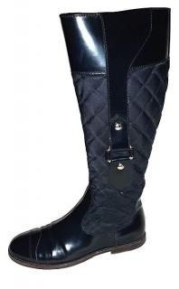 Burberry Black Quilted Leather & Nylon Boots