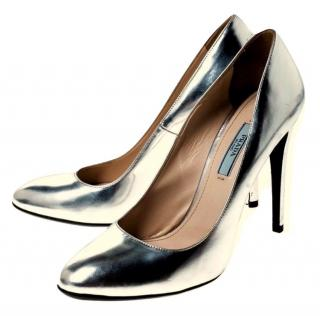Prada Silver Round Toe Metallic Leather Pumps