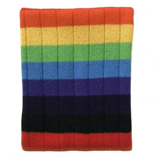 Madeleine Thompson Cashmere Rainbow Ribbed Knit Scarf