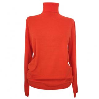 Max Mara Orange Virgin Wool Knit Roll Neck Jumper