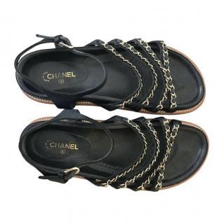 Chanel Black Lambskin Chain Trim Sandals