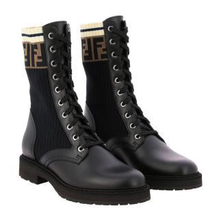 Fendi Leather & Knit Rockoko Hiking Boots