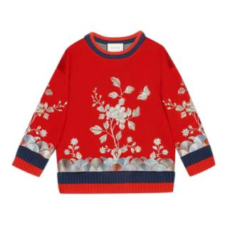 Gucci Red Floral Embroidered Jumper