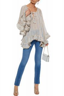 Zimmermann Ruffle-trimmed Striped Linen Blouse