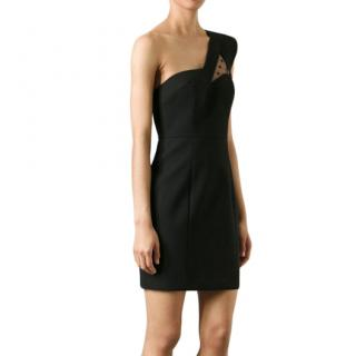Saint Laurent Black Wool One-Shoulder Mini Dress