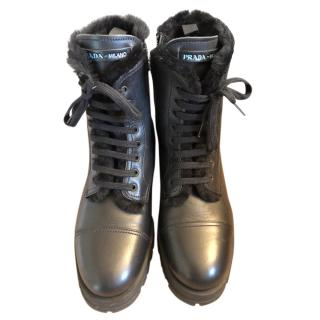 Prada Black Shearling Lined Ankle Boots