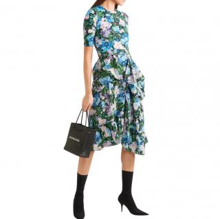Balenciaga Gathered floral-print jersey and crepe dress