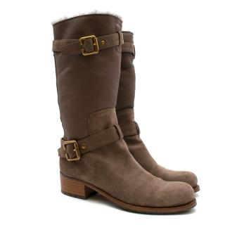 Christian Dior Brown Suede Shearling Lined Mid-Calf Boots