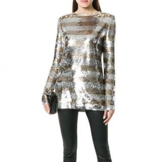 Balmain Sequin Military Top