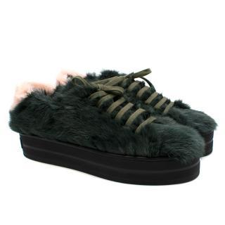 Mr & Mrs Italy Green Mink Fur Platform Sneakers
