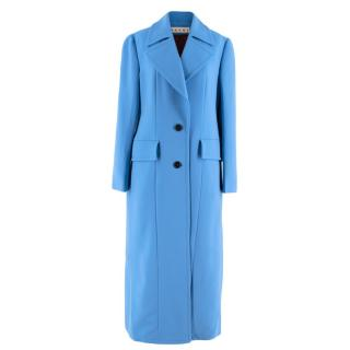 Marni Blue Virgin Wool Long Coat