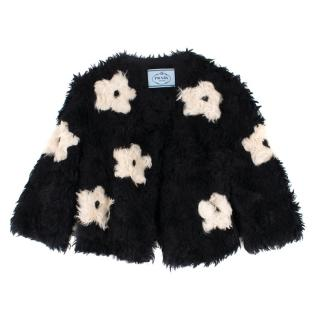 Prada Mohair Blend Faux Fur Jacket with Daisy Print