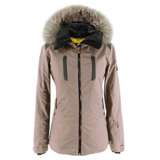 Fendi Taupe Ski Jacket With Fox Fur Hood