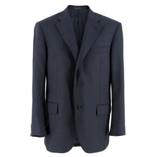 Corneliani Blue Checked Leader Wool Suit Jacket