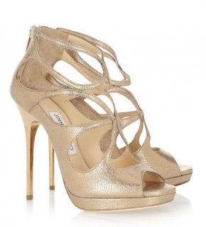Jimmy Choo Loila metallic textured-leather sandals