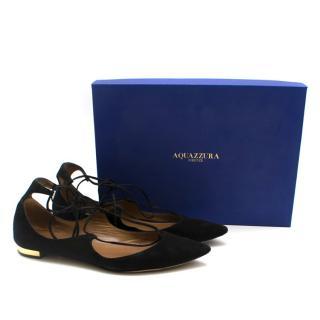 Aquazzura Christy Black Suede Flat Sandals
