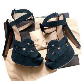 Alaia Black Suede Cut-Out Sandals