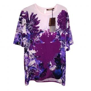Roberto Cavalli Purple Floral Print T-Shirt
