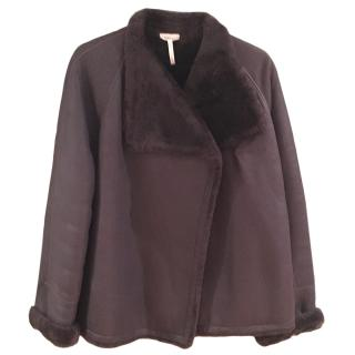 Hermes Brown Sheepskin Wrap Jacket