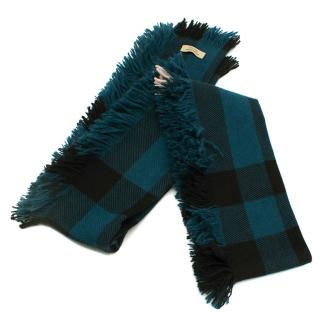 Burberry Fringed Checked Wool Scarf