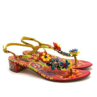 Dolce & Gabbana Carretto Siciliano Print Sandals