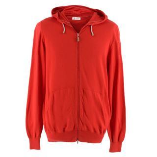 Brunello Cucinelli Red Cotton Zip-Front Hoddie