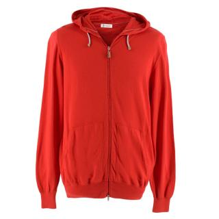 Brunello Cucinelli Red Cotton Zip-Front Hoddie