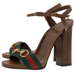 Gucci Web Stripe Tan Sandals