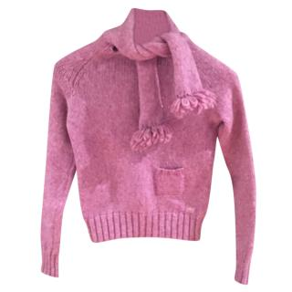 Chanel Pink Scarf Tie Knit Sweater