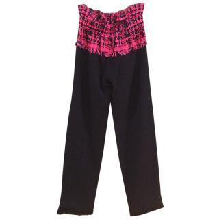 Chanel Black Trousers W/ Pink Tweed Hem