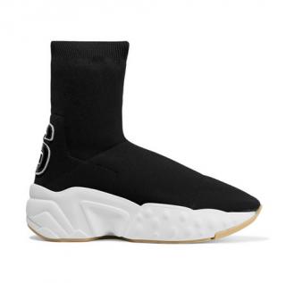Acne Studios Leather-appliqu�d stretch-knit sock sneakers