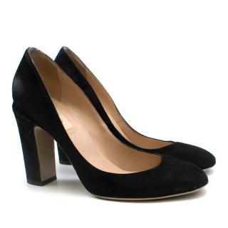 Valentino Black Suede Block Heel Pumps