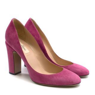 Valentino Pink Suede Block Heel Pumps